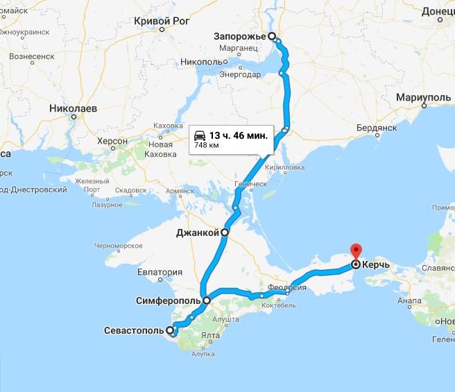 Маршрут автобуса Запорожье - Крым